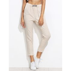 SheIn(sheinside) Grid Print Drawstring Waist Pants ($13) ❤ liked on Polyvore featuring pants, capris, apricot, pink capri pants, loose pants, loose fit capri pants, cropped capri pants and loose fitting pants