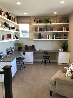 Mesa Home Office, Home Office Space, Home Office Desks, Home Office Furniture, Office Room Ideas, Hone Office Ideas, Basement Home Office, Double Desk Office, White Office
