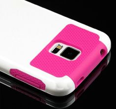 myLife (TM) Smooth White and Hot Pink - Free Flex Series (2 Layer Neo Hybrid) Slim Armor Case for the NEW Galaxy S5 (5G) Smartphone by Samsu...