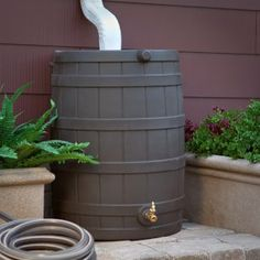 Good Ideas Rain Wizard Resin Flat Back Rain Barrel One on each downspout and water the whole yard. If you use an open Rain Barrel you will get mosquito larvae. No problem: save the lives of some feeder goldfish and they will eat the bugs. Ideas Prácticas, Ideas Para, Room Ideas, Craft Ideas, Water Conservation, Water Garden, Backyard Landscaping, Backyard Ideas, Landscaping Ideas