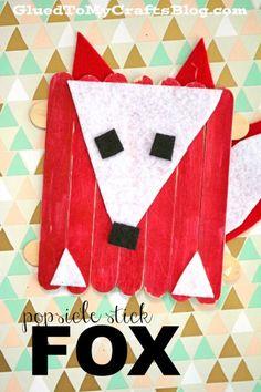 Popsicle Stick Craft Felt Fox - Kid Craft Idea