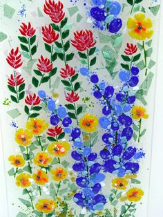 Image detail for -Floral fused glass panels with wildflower motif.