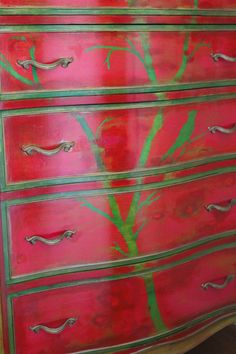 My dream is to do this kind of work: Gorgeous hand-painted dresser by designer Laura Gunn
