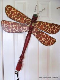 giraffe print dragonfly art