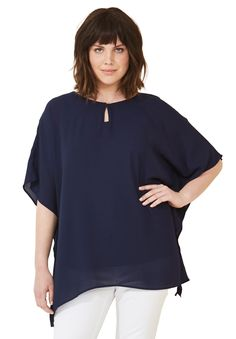 a4ee3f0a786 Sheer Poncho Tunic by ellos - Women s Plus Size Clothing Trendy Plus Size