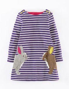 Gestreiftes Kleid mit Applikation 33326 Casualkleider & Hängerchen bei Boden