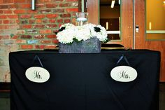 Wedding Decor- Bride and Groom's Table, Mr. and Mrs.