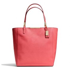 The Madison North/south Tote In Saffiano Leather from Coach- this pinkish red is a pretty color for spring.