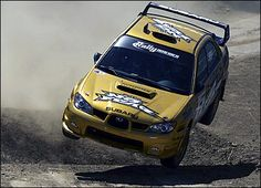 McRae and co-driver Nicky Grist competed for Subaru in the first live televised American rally in Los Angeles and finished second despite rolling his car