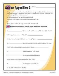 Add an Appositive | Worksheets, Free Printable Worksheets and ...