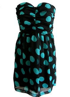 Pop into summer in our newest spotted frock and let a pair of black strappy heels complete the look. Features a gorgeous strapless cut with rubber grip-strip for ample support, ruched bodice with vertical seam detail to the front, vivid aqua polka dot print throughout, and a swishy chiffon hem to finish.