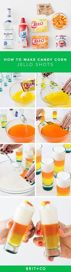 Whip up these Candy Corn Jello Shots for your Halloween bash. I think I would make these in a pan & cut then into pieces. How do you eat jello out of a shot glass? Introducing our Candy Corn Jello Shots! It doesn't get more festive than this, people. Adult Halloween Drinks, Halloween Jello Shots, Halloween Food For Party, Halloween Treats, Halloween Stuff, Jello Pudding Recipes, Jello Shot Recipes, Party Drinks, Fun Drinks