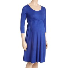 GLAM Royal Blue Empire-Waist Maternity Dress ($24) ❤ liked on Polyvore featuring maternity