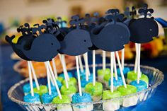 navy blue and lime green whale themed first birthday party whale topped marshamllow pops Más Whale Birthday Parties, Baby First Birthday, Birthday Party Themes, Birthday Ideas, Babyshower, Whale Party, Nautical Party, Baby Shower Themes, Shower Ideas