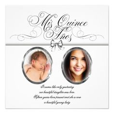 Silver Black and White Photo Quinceanera 5.25x5.25 Square Paper Invitation Card