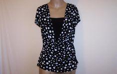 CARDUCCI Shirt Top M Black White Polka Dots Cowl Neck Stretch Short Sleeves #Carducci #KnitTop #Casual