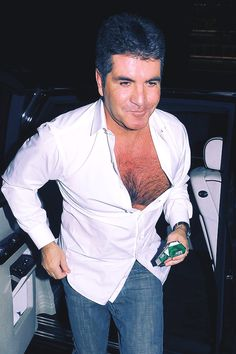 So Simon, how much chest hair did you say you had? Britain Got Talent, Simon Cowell, Shirt Dress, Party, Mens Tops, Hair, Shirts, Dresses, Fashion