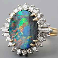 Vintage Black Opal and Diamond Cluster Cocktail Ring