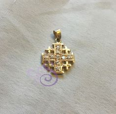 Yellow Gold GP Over 925 Silver Jerusalem Cross Pendant Zircons Israel Holyland  #Unbranded #Pendant