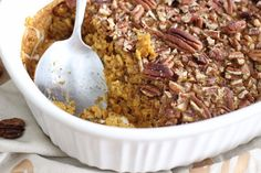 This easy pumpkin pecan baked oatmeal is gluten free, dairy free, refined sugar free, and entirely easy! The whole family will love it!