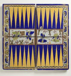 Datura — purplefigtree: Four Tiles Forming a Backgammon. Old Board Games, Game Boards, Medieval Games, Iranian Art, Painted Boards, Sculpture, Islamic Art, 17th Century, Art And Architecture