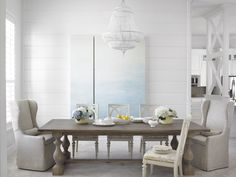 neutral dining room, wingback king and queen chairs, fave white beaded chandelier