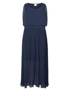 8b4f7832a424 Seje Lang marine blå kjole med plisseret skørt Junarose Modetøj til Damer i  behagelige materialer