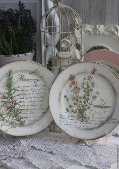 """Купить Тарелочка """"Душистый тимьян"""" - белый, прованс, тимьян, прованские травы, кантри, Декупаж"""