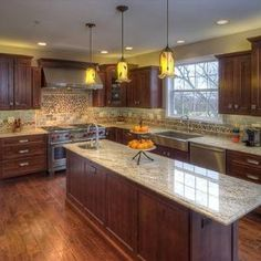 My dream kitchen! Knotty Alder Stained Kitchen Cabinets Design, Pictures, Remodel, Decor and Ideas - page 2 Stained Kitchen Cabinets, Kitchen Cabinet Design, Kitchen Redo, New Kitchen, Kitchen Backsplash, Kitchen Ideas, Pantry Design, Kitchen Floor, Kitchen Island