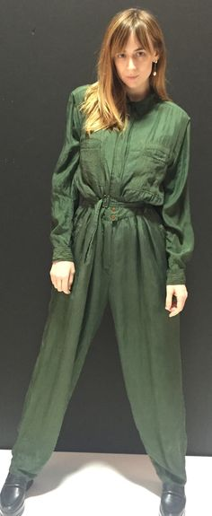 1980s Vintage Women's Green silk Jumpsuit, Flight Suit, Onesie, size Large, silk suit by LoredanasVintage on Etsy