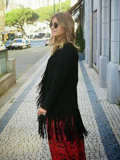 yard of girls: Black Fringed Jacket