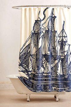 navy ship Shower curtain, anthropologie.