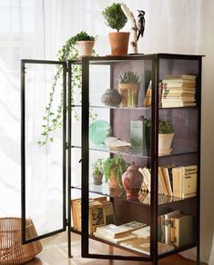 curio cabinet. Love the industrial look with plants! ... <3 Livingroom