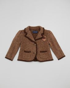 Ralph Lauren Herringbone Tweed Jacket, Brown, Sizes 9-24 Months