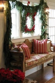 ♥♥♥ I love the white walla and many windows, the rustic settee and the carriage lamps. I know this is a Christmas pin, but I love all of the other elements of it!