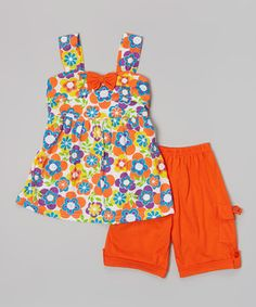 Love this Orange Floral Bow Top & Shorts - Toddler & Girls by G&J Relations on #zulily! #zulilyfinds
