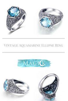 Vintage Aquamarine Hexagon Dream Ring