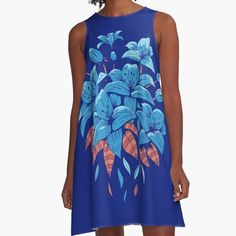 This beautiful blue lily design will look great on apparel, decor or accessories. For more awesome designs visit grandpastees.redbubble.com.  #blue #lilies #redbubble #findyourthing