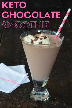 Keto Chocolate Smoothie with 6 ingredients --coconut milk, protein powder, chia seeds, stevia, dark chocolate, and ice. A low-carb, high-fat milkshake.
