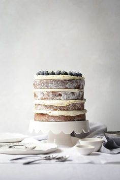 Lemon and Blueberry Layer Cake + Cream Cheese Frosting | The Polka Dotter