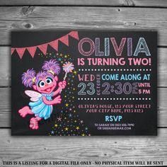 Abby Cadabby Chalkboard Invitation - PRINTABLE - Digital File - Kids Birthday Sesame Street Party Bunting Pink Purple Invite Chalk - V008 by LeosPrintables on Etsy https://www.etsy.com/listing/480586152/abby-cadabby-chalkboard-invitation