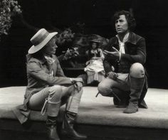 """All the world 's a stage, and all the men and women merely players. They have their exits and their entrances; And one man in his time plays many parts"" --Jaques from ""As You Like It"" (Act II, Scene VII). Maggie Smith as Rosalind and Brian Bedford as Jaques in the Stratford Festival's 1978 production of ""As You Like It."""