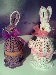 Crochet Egg Cozy, Crochet Bunny, Crochet Motif, Crochet For Kids, Crochet Designs, Crochet Doilies, Easter Art, Easter Crafts, Easter Eggs