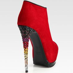 Giuseppe Zanotti crystal heel suede bootie! Pair this with multi-color chanel bag! STOP The Press!