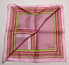 """Vintage Echo Scarf Pink Striped Checkered Green Red Silk Blend Japan 22"""" Square #Echo #Scarf"""