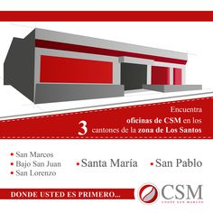 Coope San Marcos no solo se encuentra en San Marcos de Tarrazú, sino que cuenta con oficinas en diferentes puntos de la zona de Los Santos. En la mayoría podrá realizar todo tipo de transacciones como pago de servicios, ahorro, retiros de dinero, y mucho más.