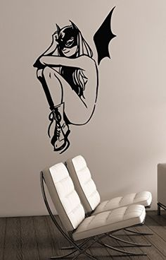 Cute Batgirl Wall Art Decal Vinyl Sticker DC Comics Superhero Decorations for Home Housewares Bedroom Teen Kids Girls Room Decor btg7