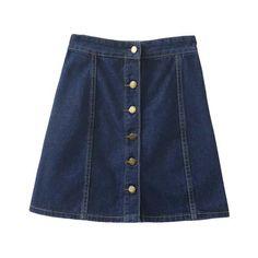 Dark Blue High Waist Buttons Front Denim Skirt ($19) ❤ liked on Polyvore featuring skirts, bottoms, clothing - skirts, high-waist skirt, denim skirt, high rise skirts, high waisted skirts and high-waisted skirts
