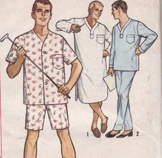 Vintage Sewing Pattern Mens Pajama and Night Shirt by Mrsdepew, $6.00