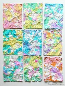 Creative painting projects for kids: Crumpled Paper Art is pretty enough to use as stationery Paper Art Projects, Projects For Kids, Kindergarten Art, Preschool Art, Painting For Kids, Art For Kids, Painting Art, Arte Elemental, Crumpled Paper